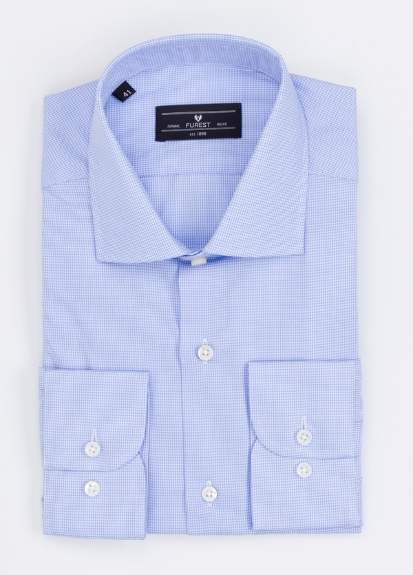 Camisa Formal Wear REGULAR FIT cuello italiano modelo TAILORED NAPOLI diseño microcuadro color azul. 100% Algodón.