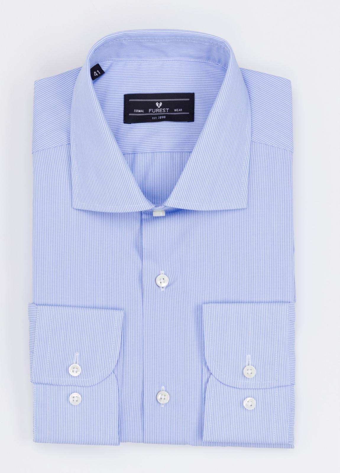 Camisa Formal Wear REGULAR FIT cuello italiano modelo TAILORED NAPOLI diseño microraya color azul. 100% Algodón.