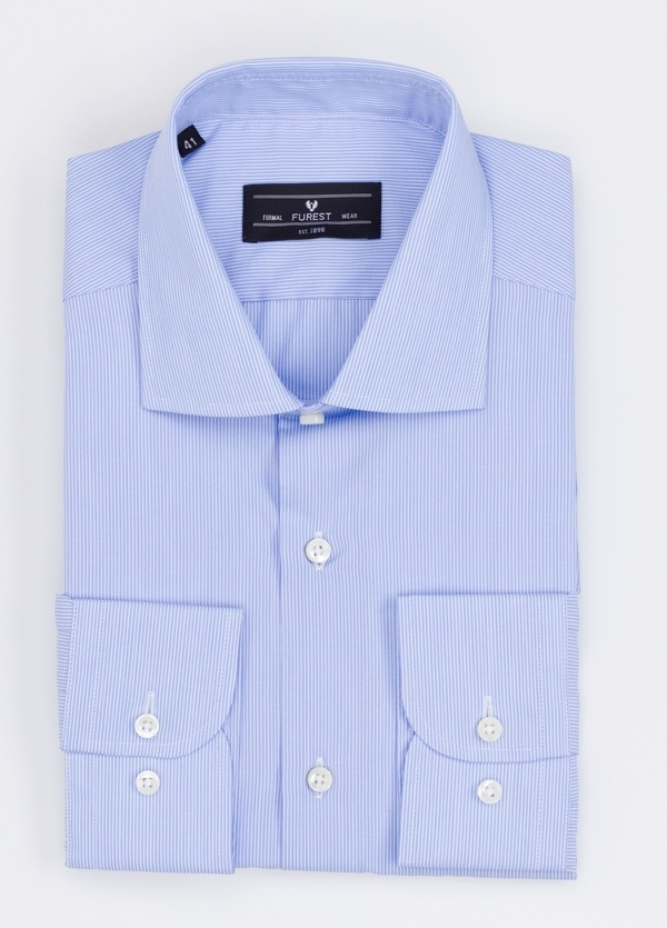 Camisa Formal Wear REGULAR FIT cuello italiano modelo TAILORED NAPOLI diseño microraya color azul. 100% Algodón.
