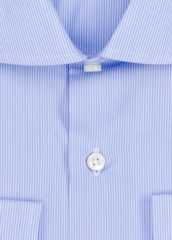 Camisa Formal Wear REGULAR FIT cuello italiano modelo TAILORED NAPOLI diseño microraya color azul. 100% Algodón. - Ítem1