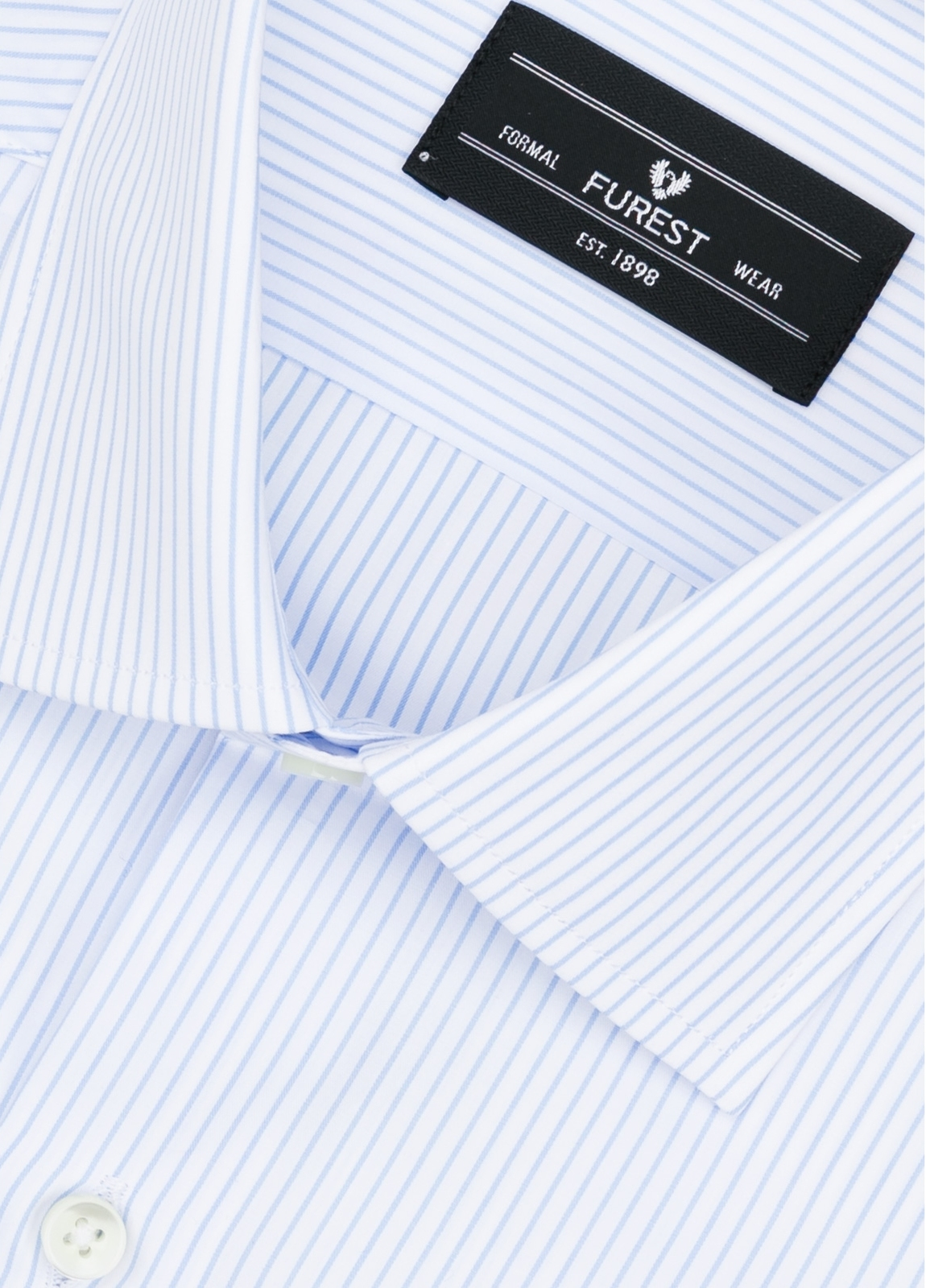 Camisa Formal Wear SLIM FIT cuello italiano modelo ROMA microraya color celeste. 100% Algodón. - Ítem1