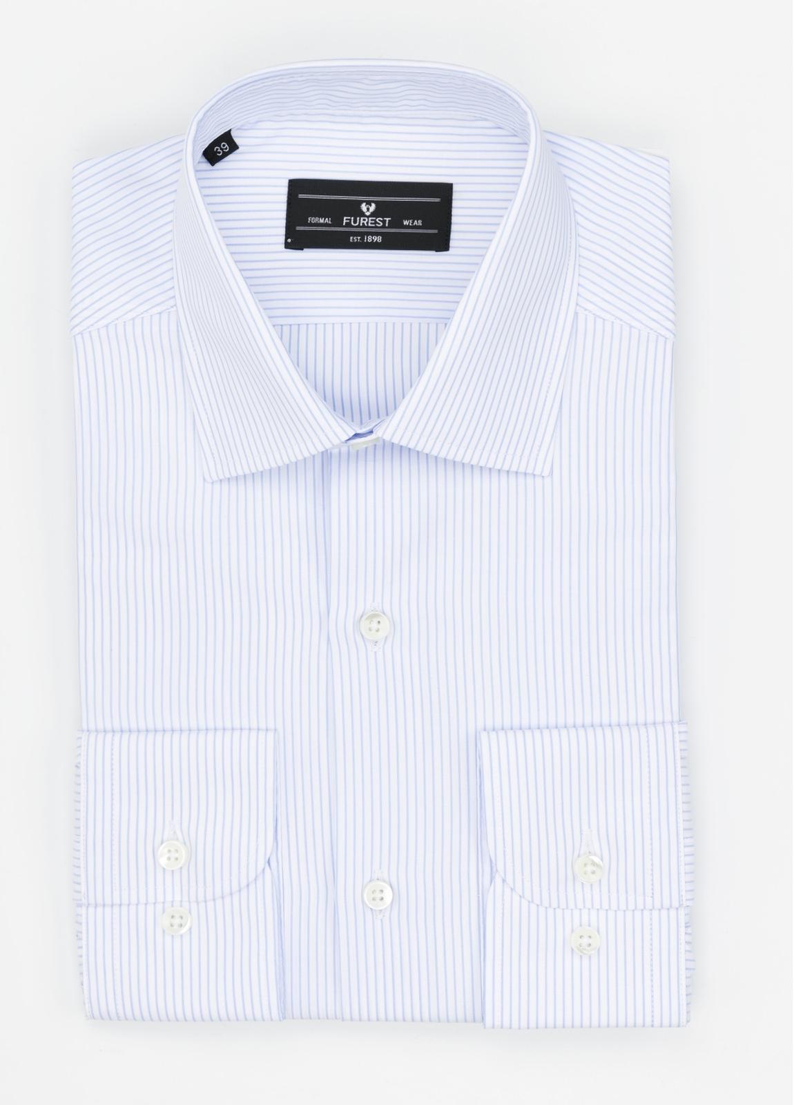 Camisa Formal Wear SLIM FIT cuello italiano modelo ROMA microraya color celeste. 100% Algodón.