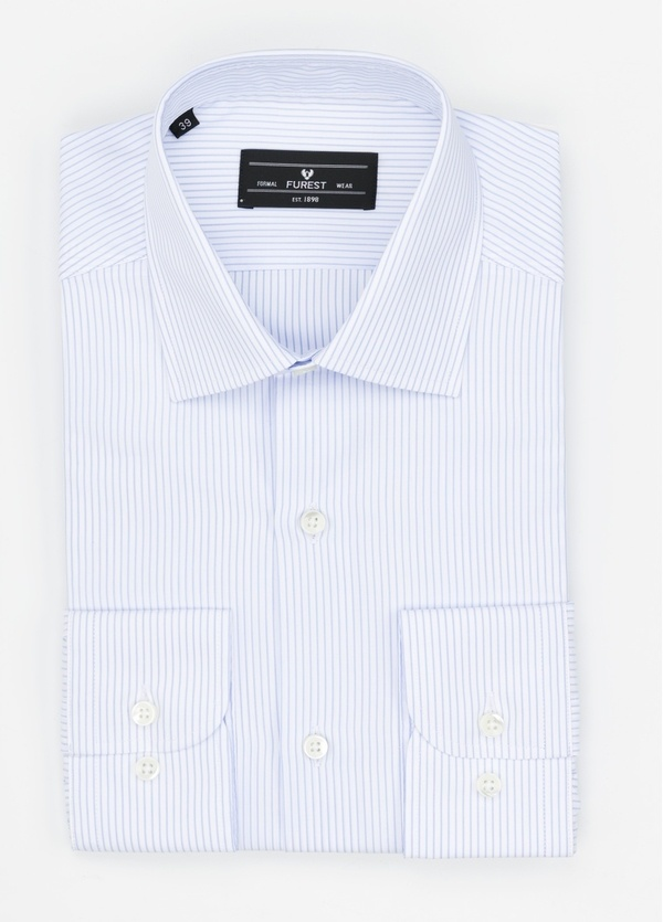 Camisa Formal Wear SLIM FIT cuello italiano modelo ROMA microraya color celeste. 100% Algodón.