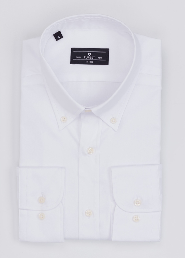 Camisa Formal Wear REGULAR FIT modelo BOTTON DOWN color blanco. 100% Algodón.