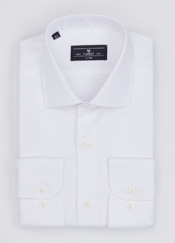 Camisa Formal Wear REGULAR FIT cuello italiano modelo TAILORED NAPOLI color blanco. 100% Algodón.