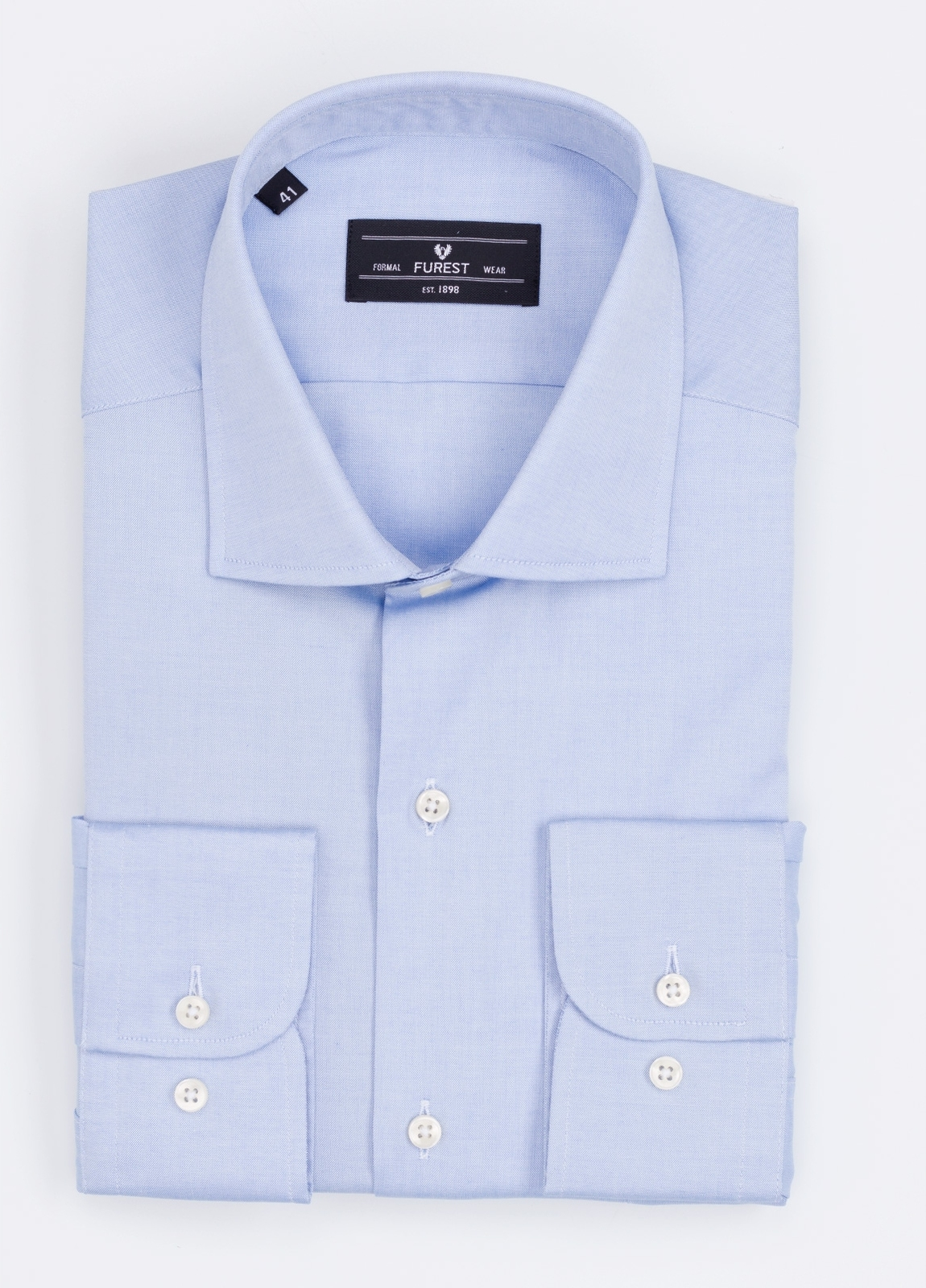 Camisa Formal Wear REGULAR FIT cuello italiano modelo TAILORED NAPOLI color azul. 100% Algodón.