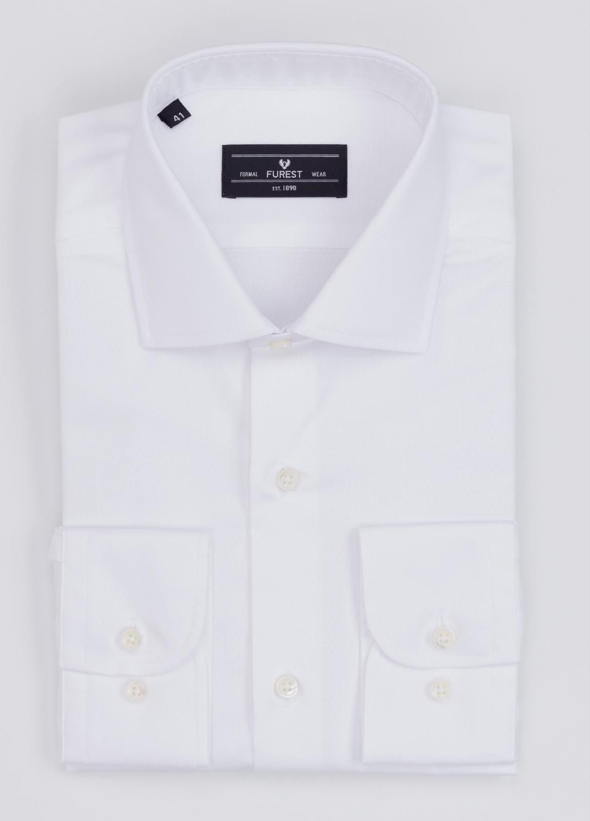 Camisa Formal Wear REGULAR FIT cuello italiano modelo TAILORED NAPOLI micrograbado color blanco. 100% Algodón.
