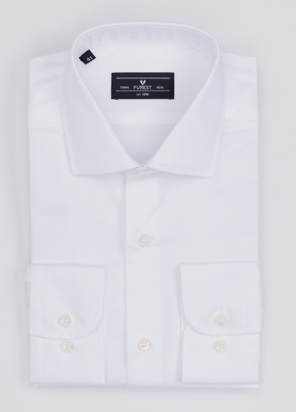 Camisa Formal Wear REGULAR FIT cuello italiano modelo TAILORED NAPOLI micrograbado color blanco. 100% Algodón.