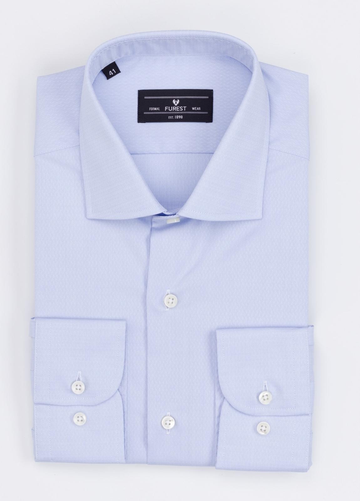 Camisa Formal Wear REGULAR FIT cuello italiano modelo TAILORED NAPOLI micrograbado color azul. 100% Algodón.