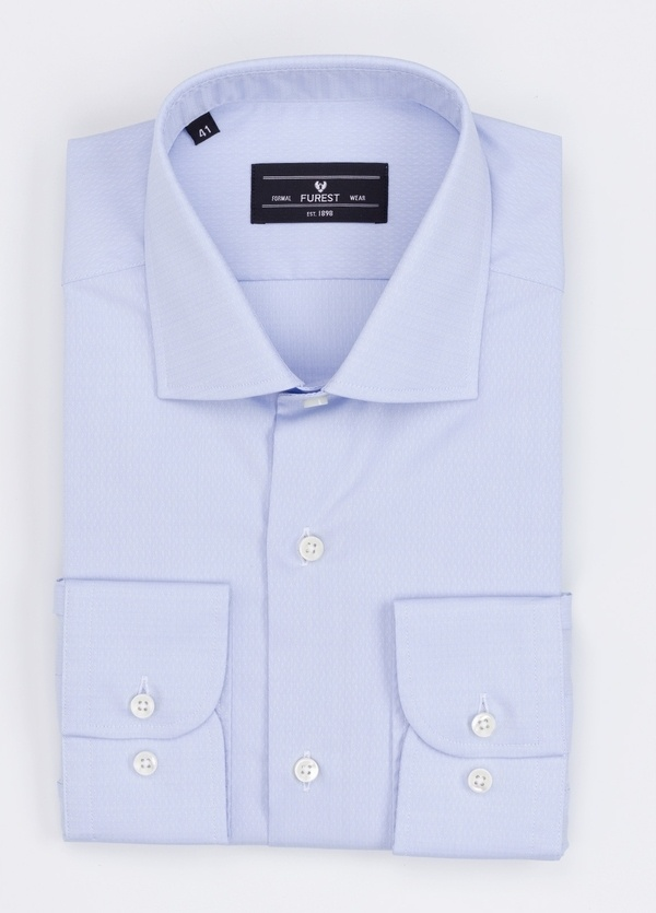 Camisa Formal Wear REGULAR FIT cuello italiano modelo TAILORED NAPOLI micrograbado color azul. 100% Algodón.