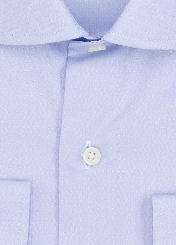 Camisa Formal Wear REGULAR FIT cuello italiano modelo TAILORED NAPOLI micrograbado color azul. 100% Algodón. - Ítem1