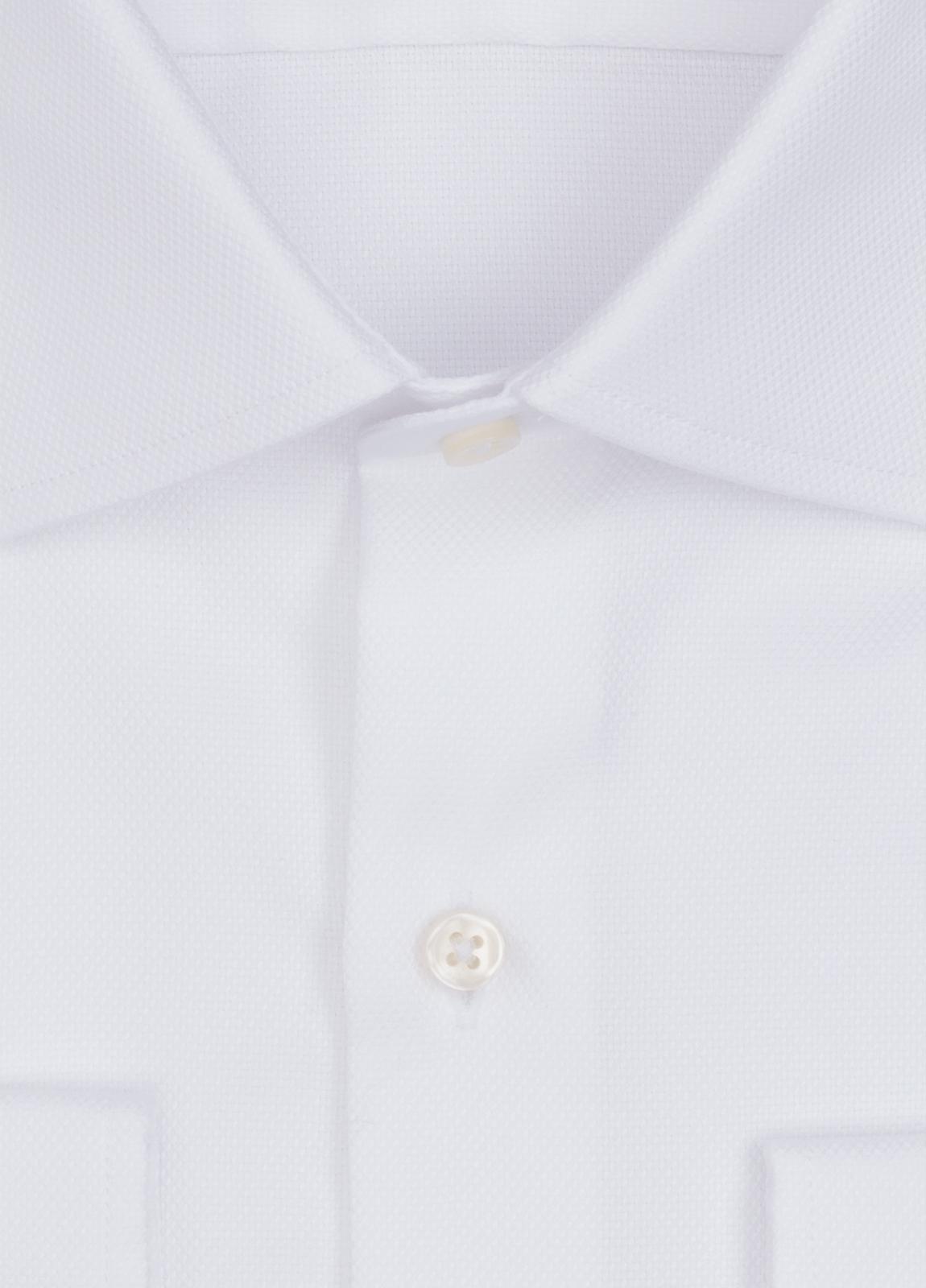 Camisa Formal Wear SLIM FIT cuello italiano modelo ROMA microtextura color blanco. 100% Algodón. - Ítem1