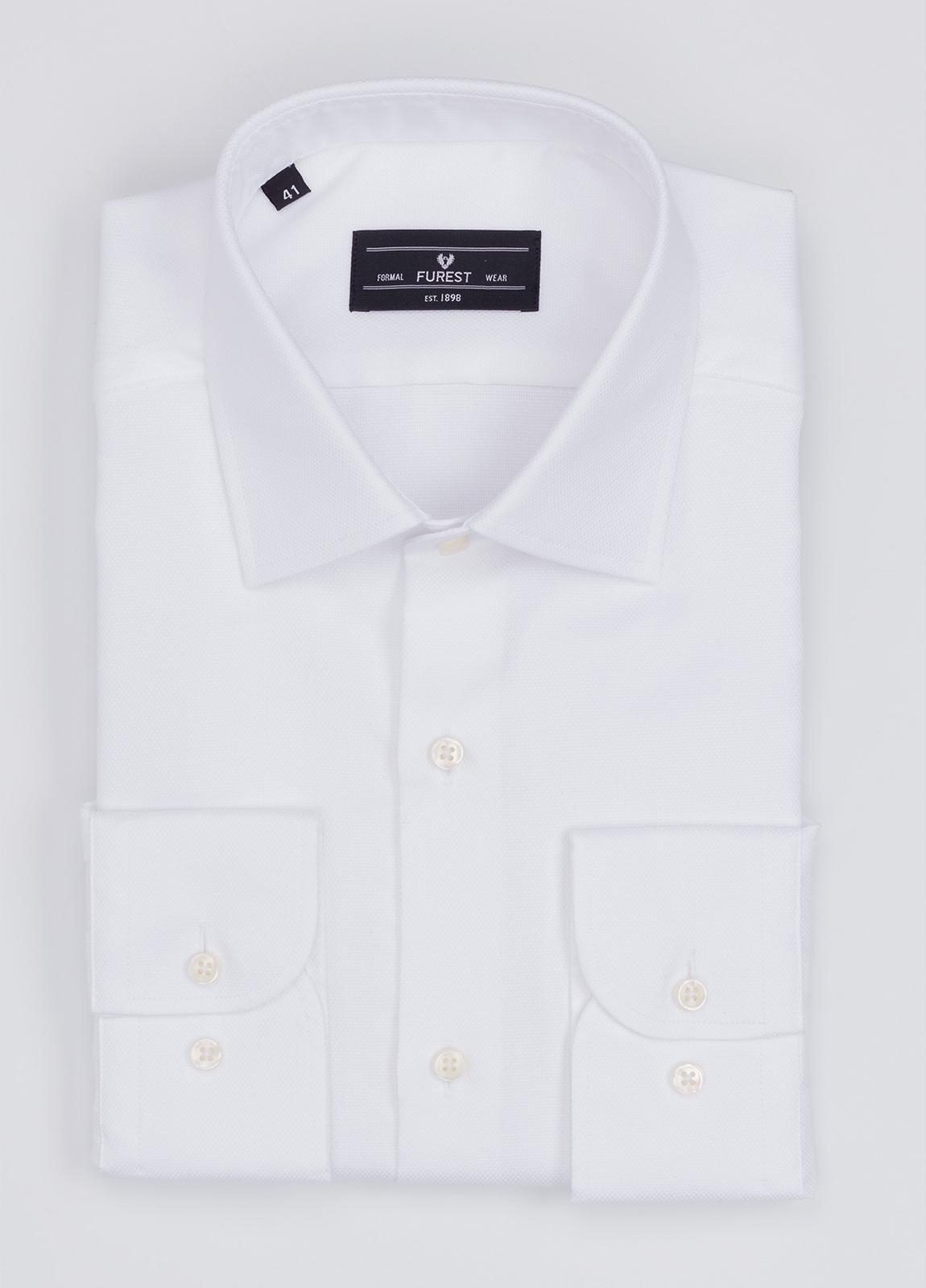 Camisa Formal Wear SLIM FIT cuello italiano modelo ROMA microtextura color blanco. 100% Algodón.