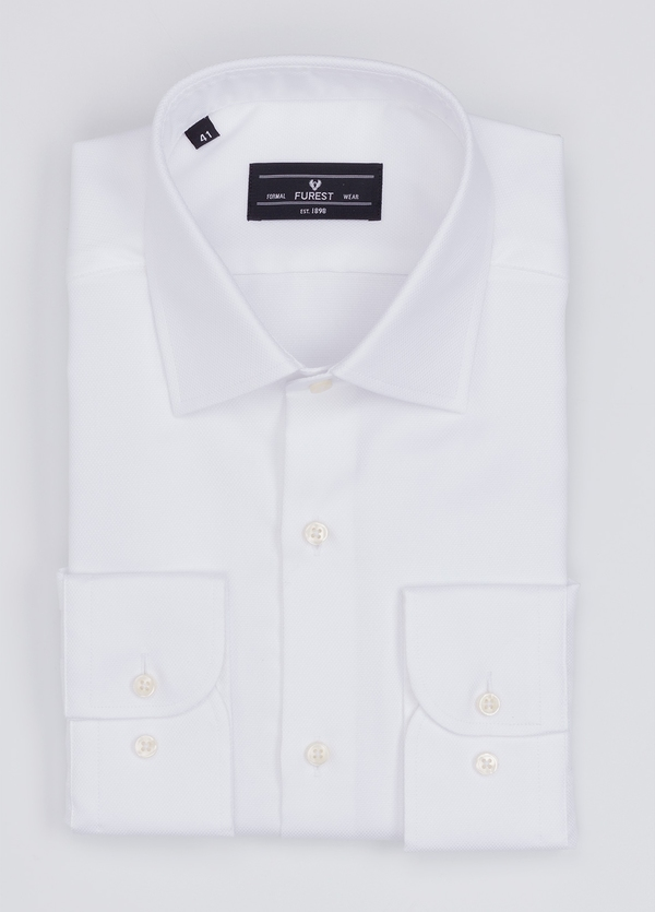 Camisa Formal Wear SLIM FIT cuello italiano modelo ROMA microtextura color blanco. 100% Algodón.