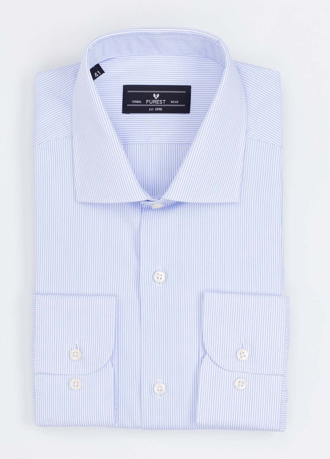 Camisa Formal Wear REGULAR FIT cuello italiano modelo TAILORED NAPOLI con diseño de rayas, color celeste. 100% Algodón.