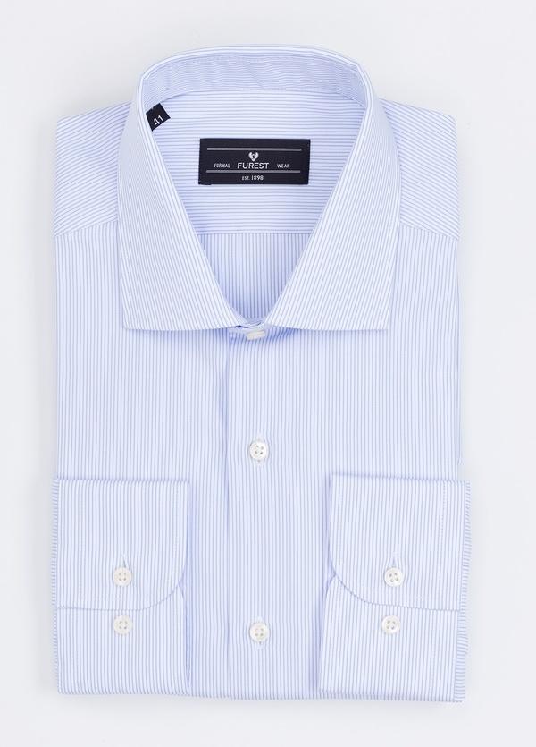 Camisa Formal Wear REGULAR FIT cuello italiano modelo TAILORED NAPOLI con diseño de rayas, color celeste. 100% Algodón.