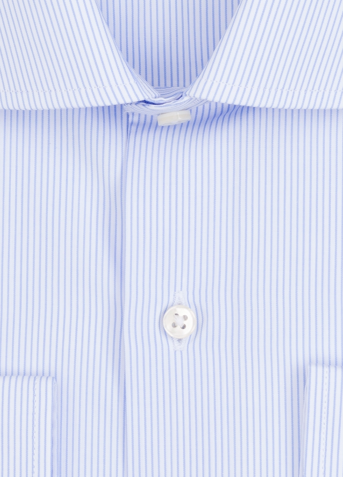 Camisa Formal Wear REGULAR FIT cuello italiano modelo TAILORED NAPOLI con diseño de rayas, color celeste. 100% Algodón. - Ítem1