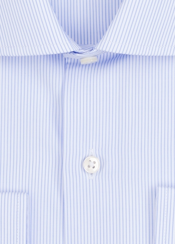Camisa Formal Wear REGULAR FIT cuello italiano modelo TAILORED NAPOLI con diseño de rayas, color celeste. 100% Algodón. - Ítem1
