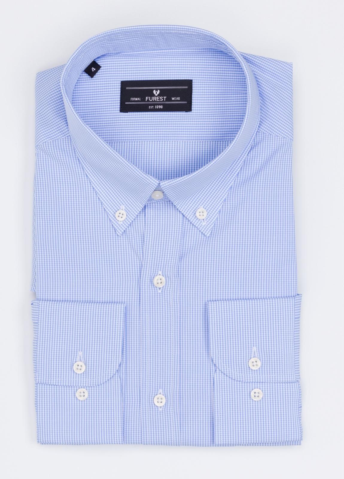 Camisa Formal Wear REGULAR FIT modelo BOTTON DOWN cuadrito vichy, color azul. 100% Algodón.