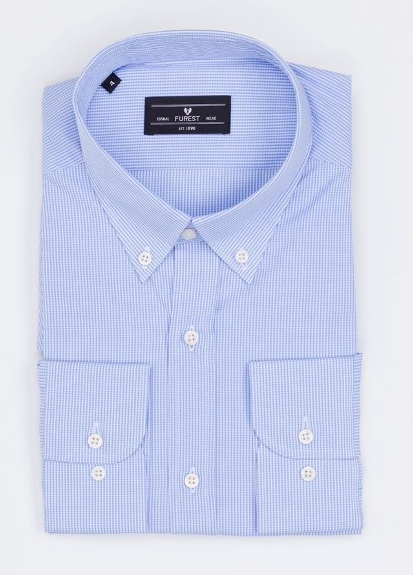 Camisa Formal Wear REGULAR FIT modelo BOTTON DOWN cuadrito vichy, color azul. 100% Algodón.