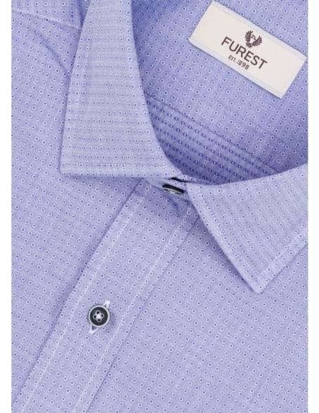 Camisa Leisure Wear REGULAR FIT modelo PORTO microdibujo color azul. 100% Algodón. - Ítem4