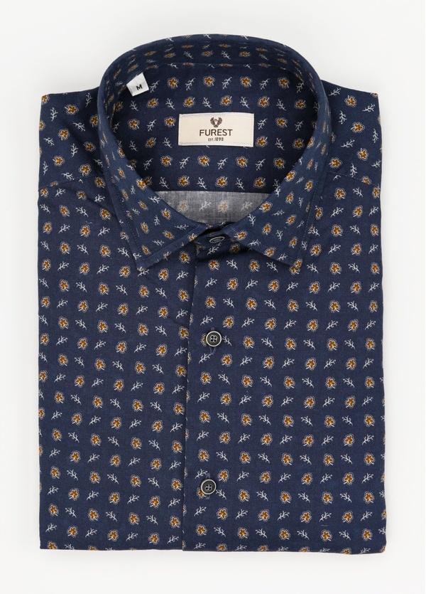 Camisa Leisure Wear SLIM FIT modelo PORTO estampado fantasía color azul marino. 100% Algodón.