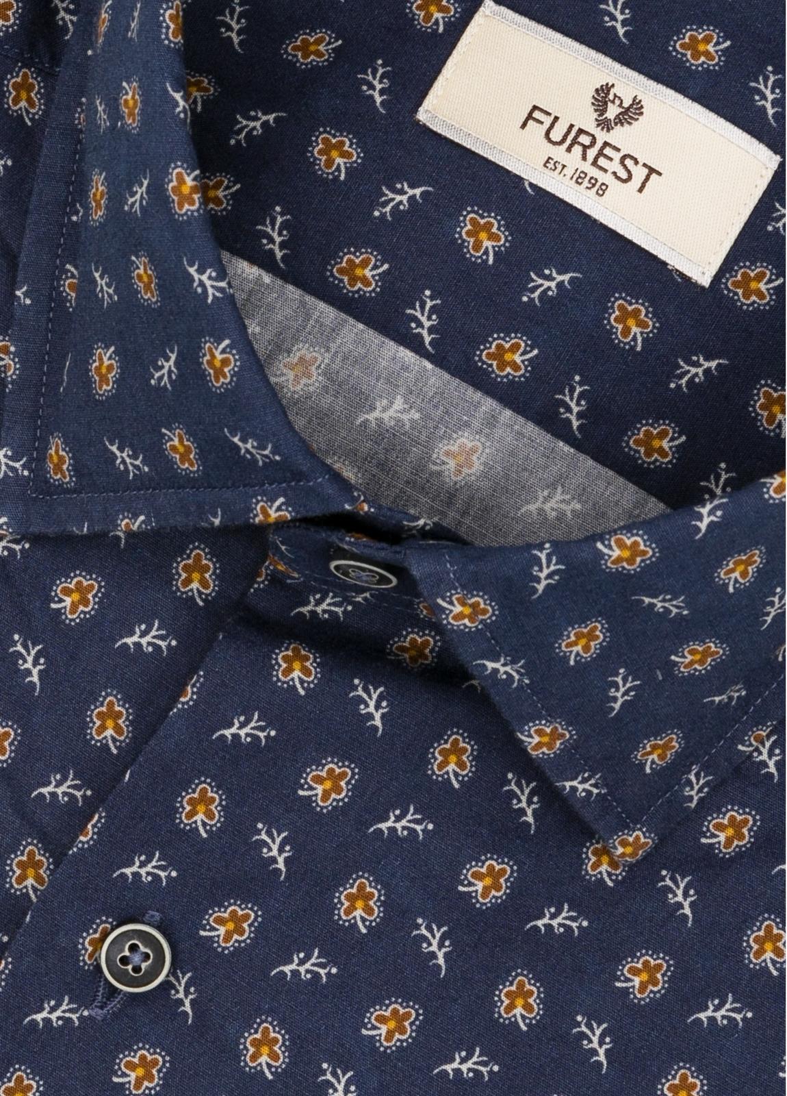 Camisa Leisure Wear SLIM FIT modelo PORTO estampado fantasía color azul marino. 100% Algodón. - Ítem1