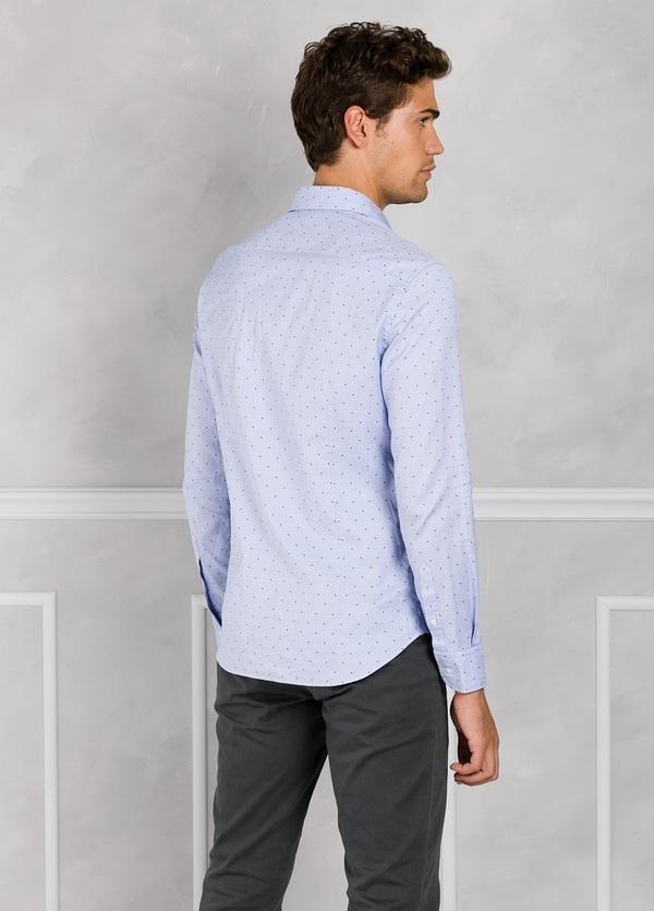 Camisa Leisure Wear SLIM FIT Modelo CAPRI color celeste con microdibujo. 100% Algodón. - Ítem3
