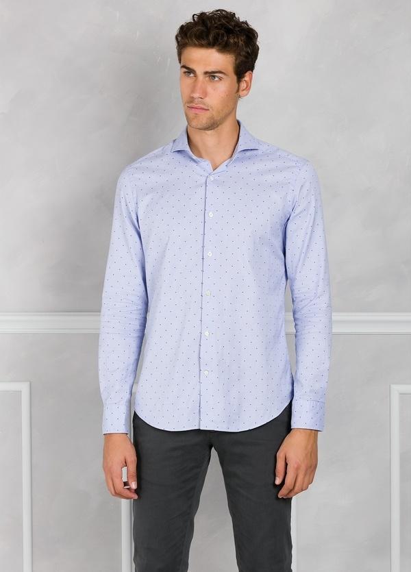 Camisa Leisure Wear SLIM FIT Modelo CAPRI color celeste con microdibujo. 100% Algodón. - Ítem2