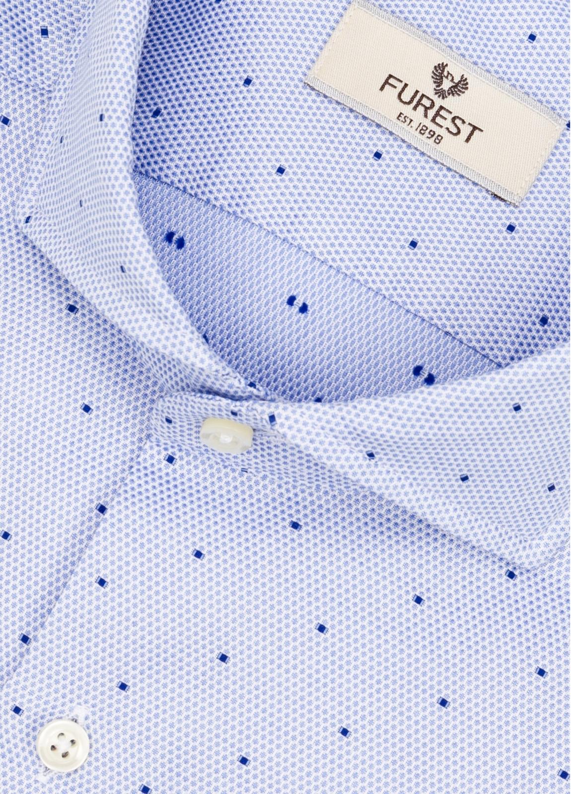 Camisa Leisure Wear SLIM FIT Modelo CAPRI color celeste con microdibujo. 100% Algodón. - Ítem1