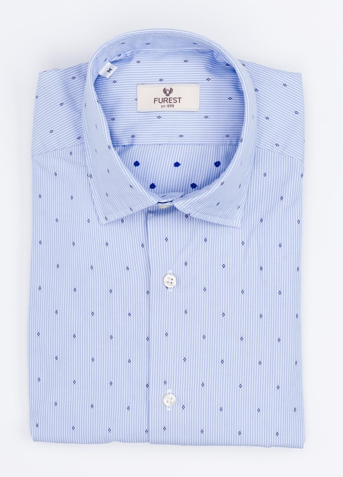 Camisa Leisure Wear SLIM FIT modelo PORTO estampado rayas con microdibujo, color celeste. 100% Algodón.