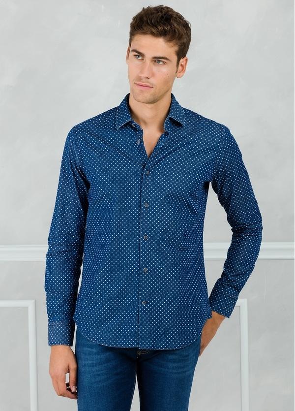 Camisa Leisure Wear SLIM FIT modelo PORTO microdibujo floral, color azul. 100% Algodón. - Ítem1