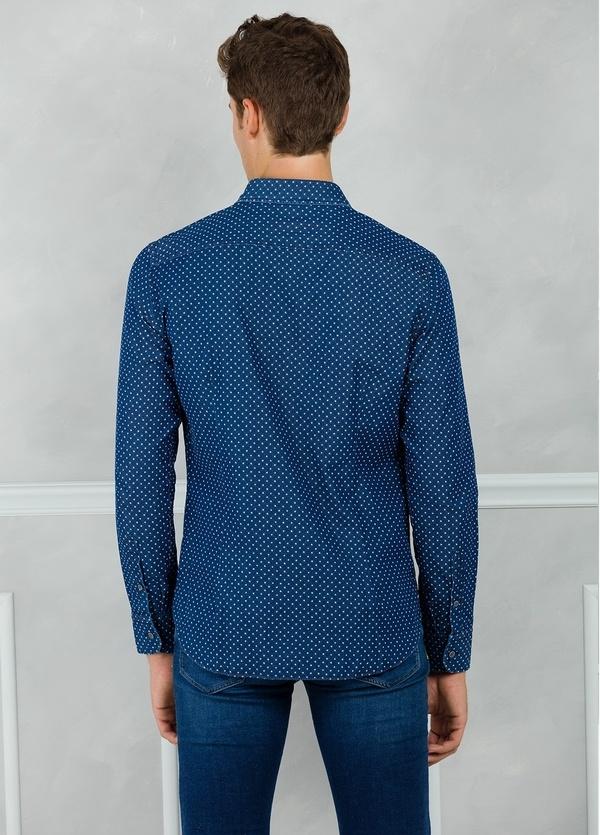 Camisa Leisure Wear SLIM FIT modelo PORTO microdibujo floral, color azul. 100% Algodón. - Ítem2