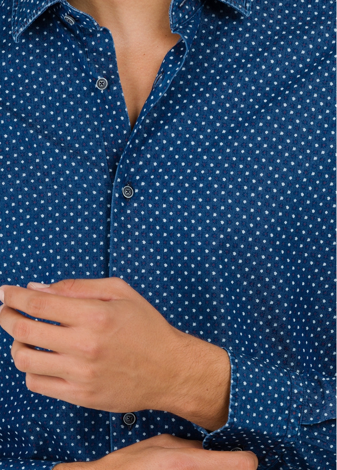 Camisa Leisure Wear SLIM FIT modelo PORTO microdibujo floral, color azul. 100% Algodón. - Ítem3