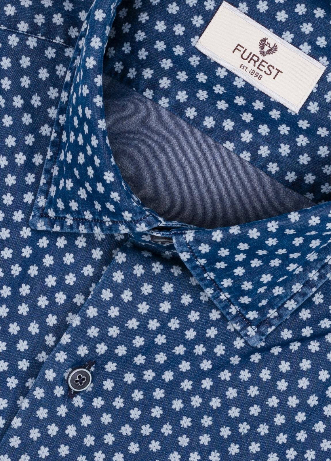 Camisa Leisure Wear SLIM FIT modelo PORTO dibujo floral, color azul. 100% Algodón. - Ítem4