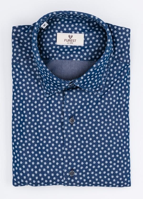 Camisa Leisure Wear SLIM FIT modelo PORTO dibujo floral, color azul. 100% Algodón. - Ítem3