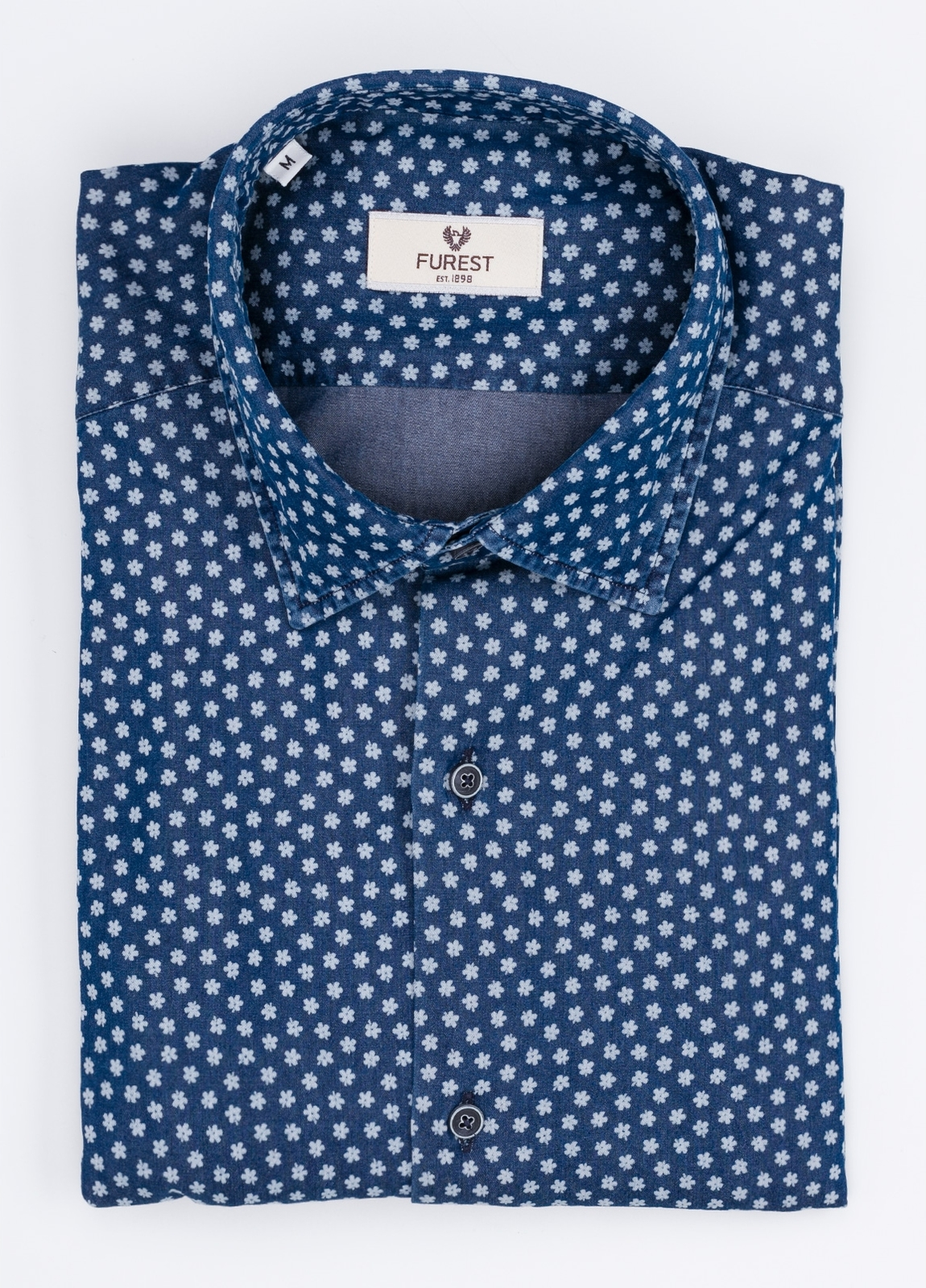 Camisa Leisure Wear SLIM FIT modelo PORTO dibujo floral, color azul. 100% Algodón.