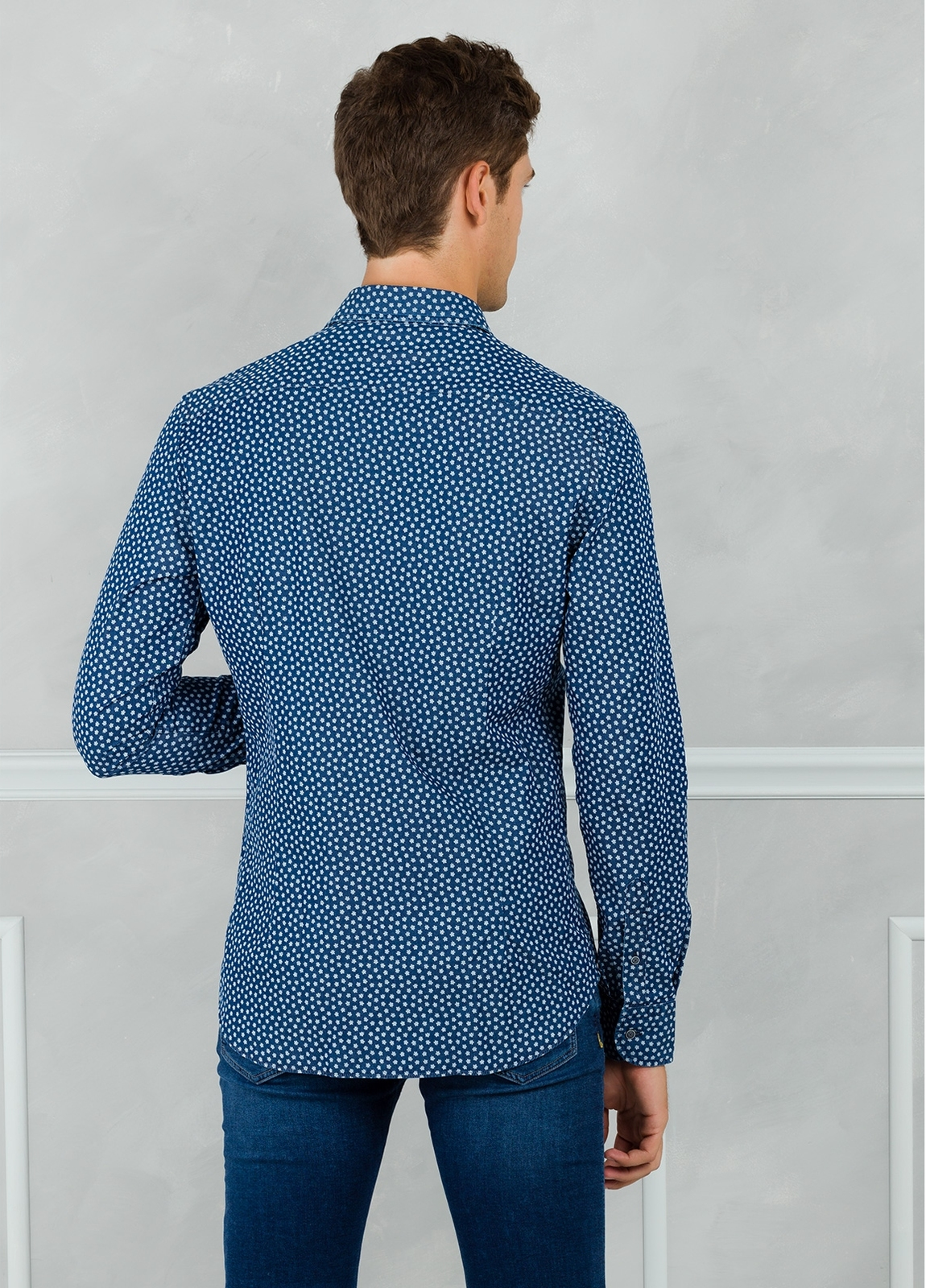 Camisa Leisure Wear SLIM FIT modelo PORTO dibujo floral, color azul. 100% Algodón. - Ítem2