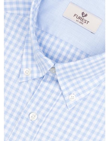 Camisa Leisure Wear REGULAR FIT Modelo BOTTON DOWN cuadro vichy color celeste. 100% Algodón. - Ítem3