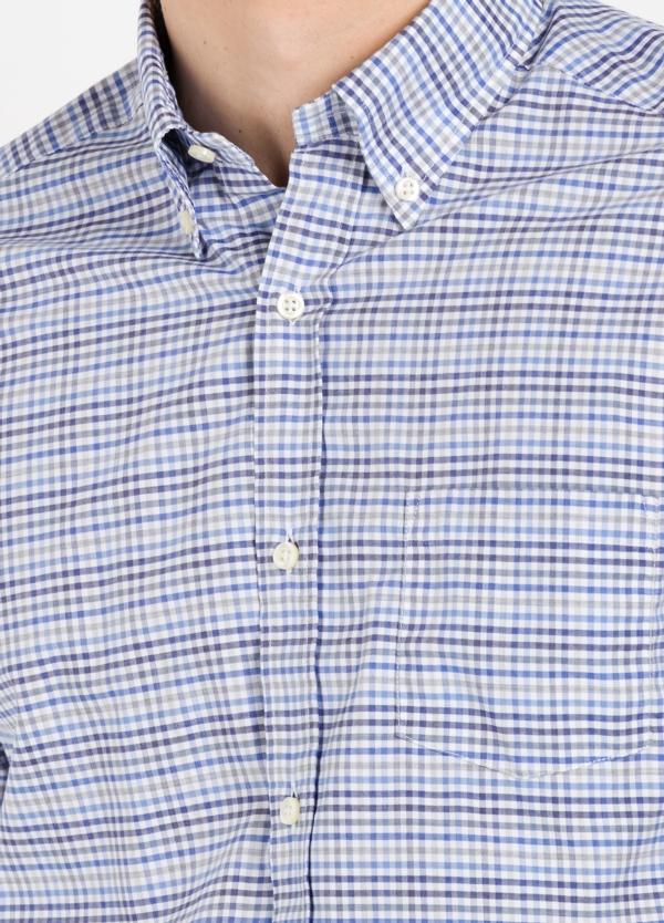 Camisa Leisure Wear REGULAR FIT Modelo BOTTON DOWN cuadros color azul. 100% Algodón. - Ítem2
