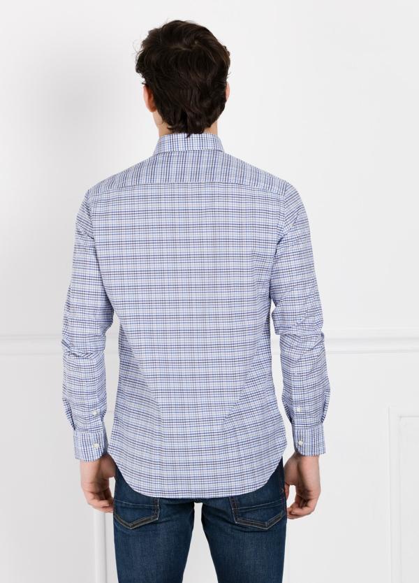 Camisa Leisure Wear REGULAR FIT Modelo BOTTON DOWN cuadros color azul. 100% Algodón. - Ítem1