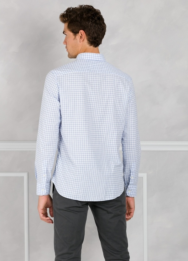 Camisa Leisure Wear REGULAR FIT Modelo BOTTON DOWN cuadros color azul. 100% Algodón. - Ítem1