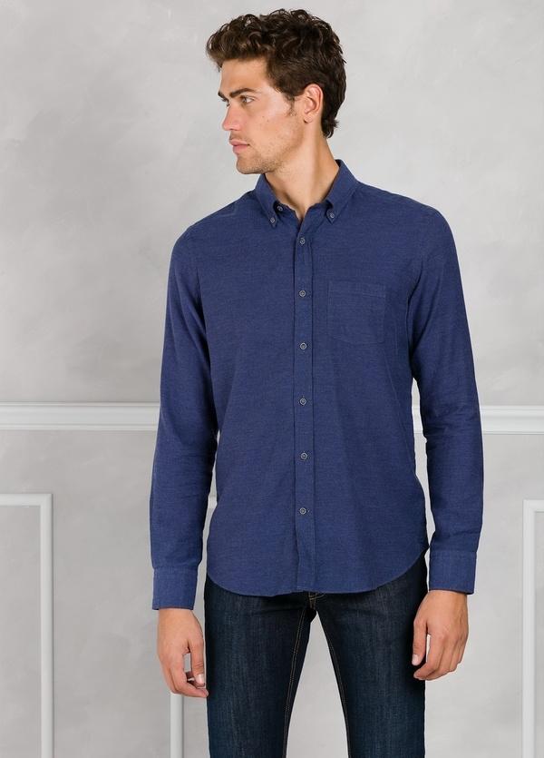 Camisa Leisure Wear REGULAR FIT Modelo BOTTON DOWN color azul tinta. 100% Algodón.