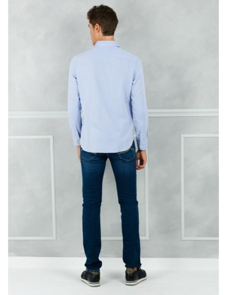 Camisa Leisure Wear REGULAR FIT modelo PORTO color azul. 100% Algodón. - Ítem1