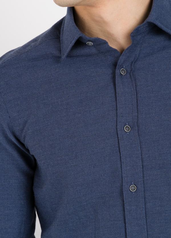 Camisa Leisure Wear SLIM FIT modelo PORTO diseño liso color azul marino. 100% Algodón. - Ítem2