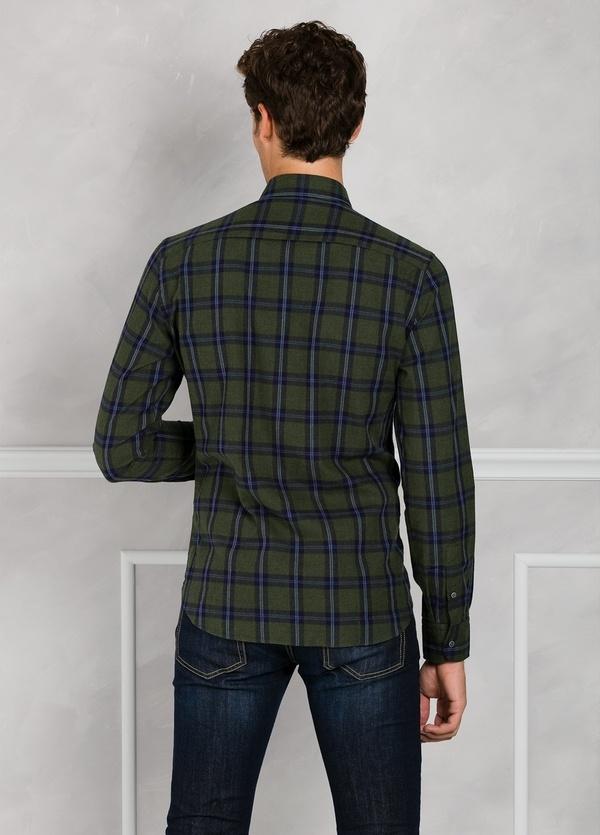 Camisa Leisure Wear REGULAR FIT Modelo BOTTON DOWN cuadros color verde. 100% Algodón. - Ítem2