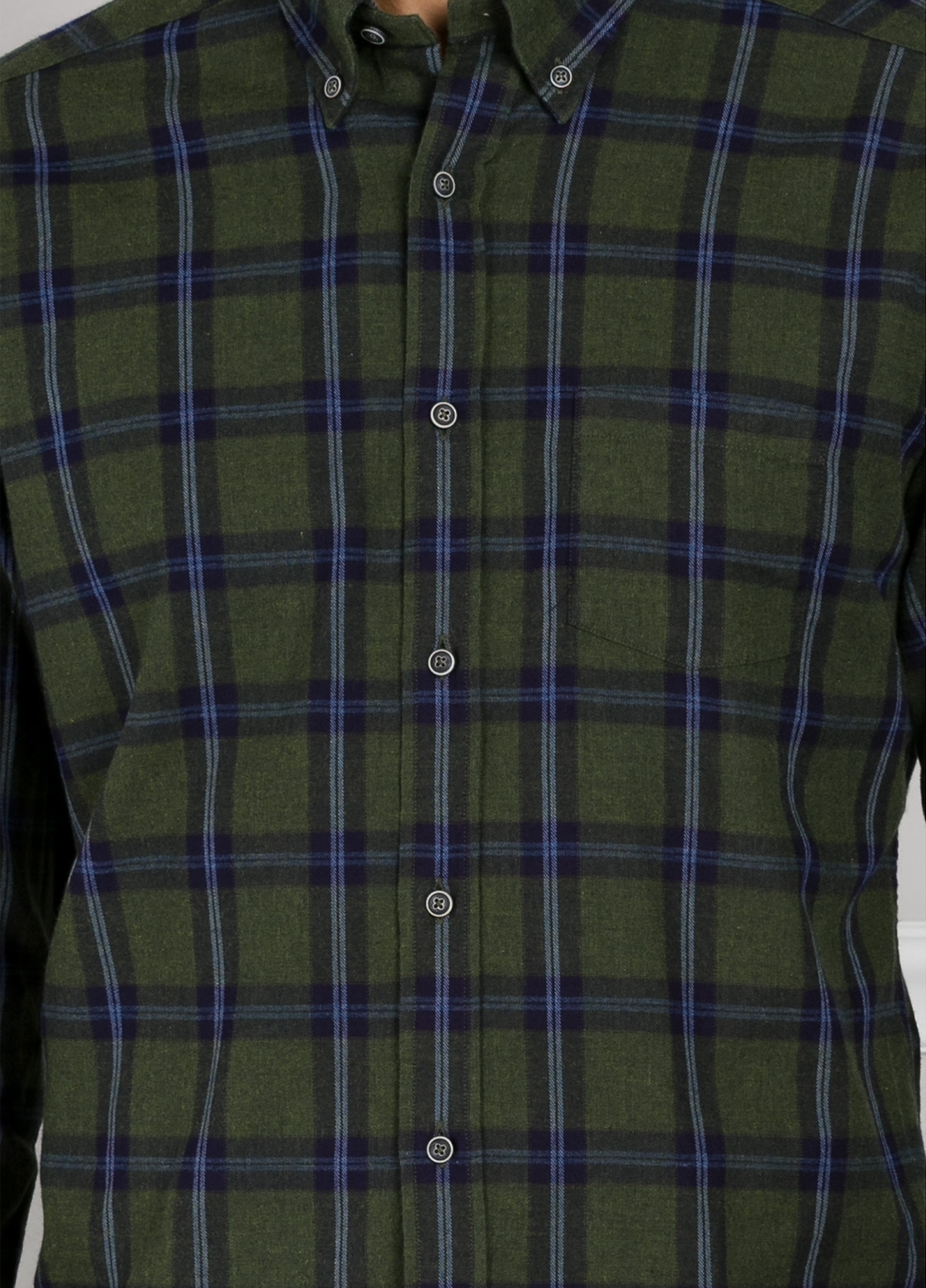 Camisa Leisure Wear REGULAR FIT Modelo BOTTON DOWN cuadros color verde. 100% Algodón. - Ítem1