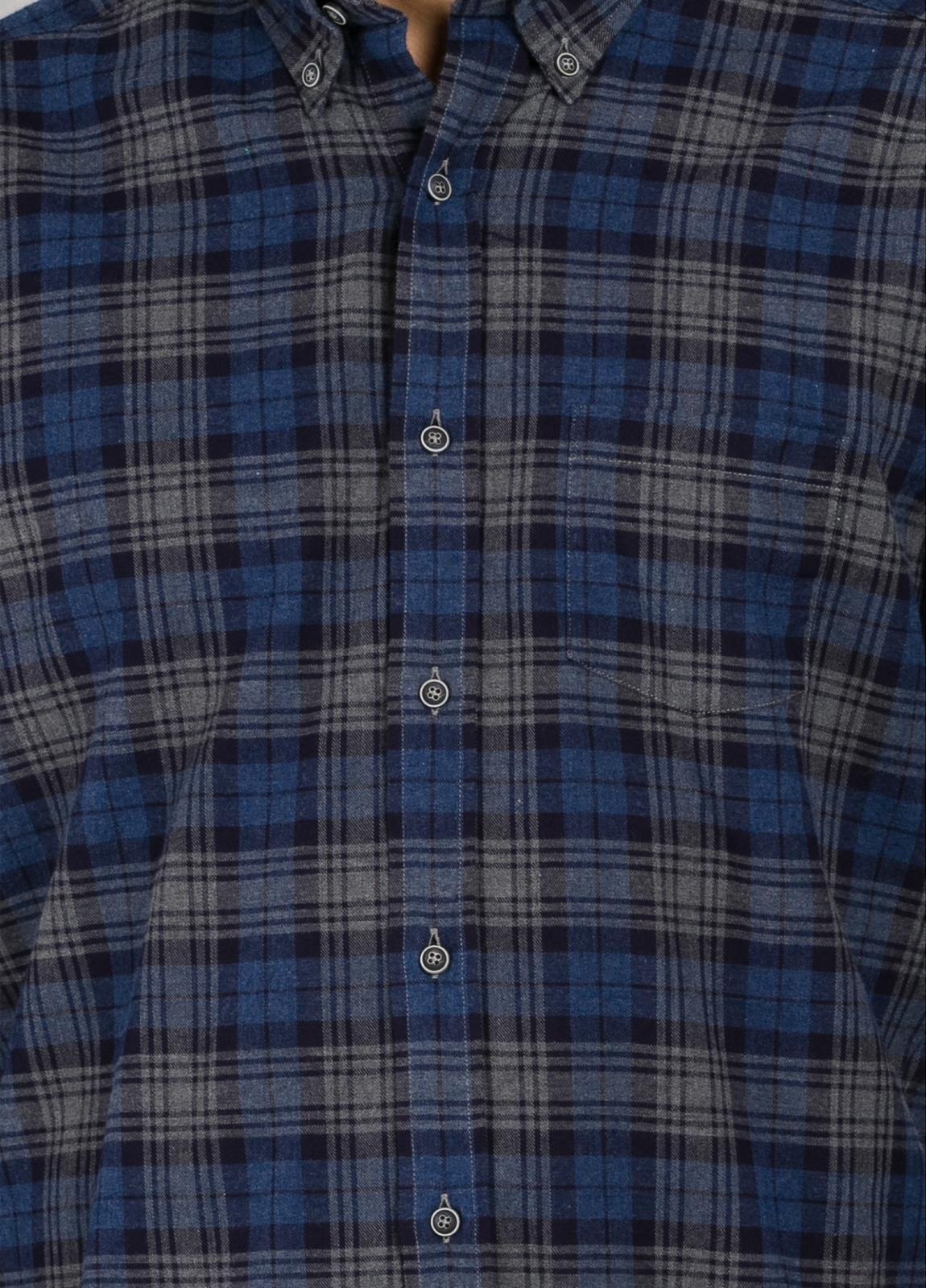 Camisa Leisure Wear REGULAR FIT Modelo BOTTON DOWN cuadros color azul marino. 100% Algodón. - Ítem2