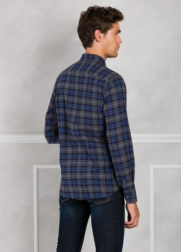 Camisa Leisure Wear REGULAR FIT Modelo BOTTON DOWN cuadros color azul marino. 100% Algodón. - Ítem1