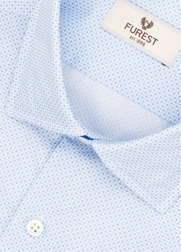 Camisa Leisure Wear REGULAR FIT modelo PORTO microdibujo color azul. 100% Algodón. - Ítem1